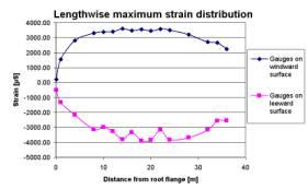 strain distribution as max load